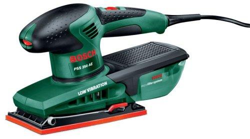 Bosch Ponceuse vibrante PSS 250 AE avec régulateur électronique, système de fixation, microfiltre, coffret et feuilles abrasives