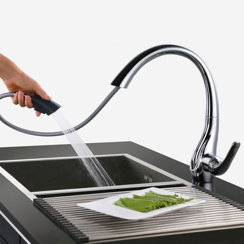 Homelody Robinet Mitigeur de Cuisine Avec Douchette Extractible 2 Jets A Débit Variable Bec Pivotant à 360° En Laiton Design Col de Cigne d'Elégance
