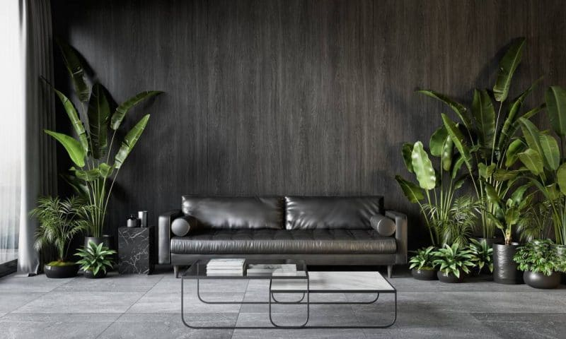 Un salon tendance avec la table basse en marbre